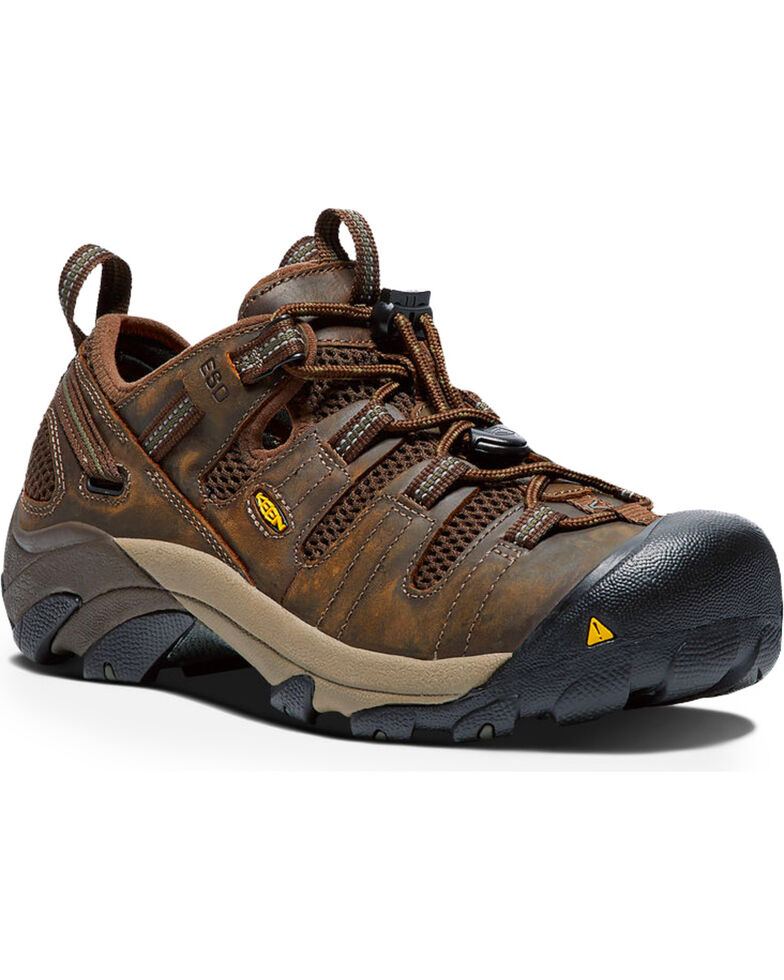 Keen Men's Atlanta Cool Water Resistant Work Shoes, Brown, hi-res