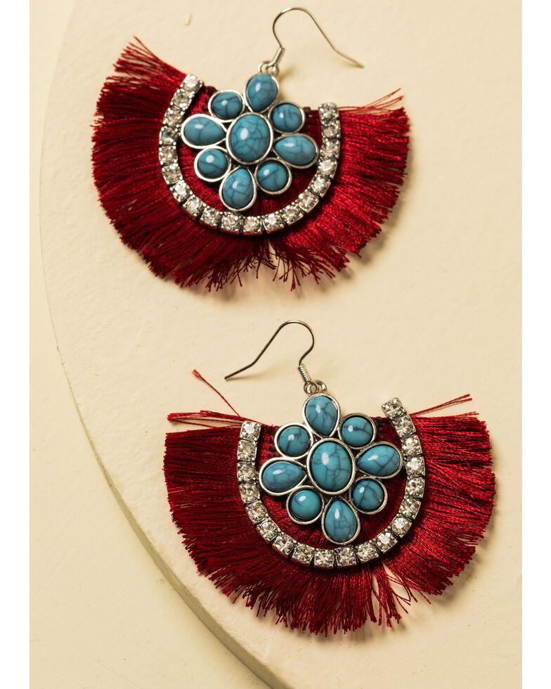 Shyanne Women's Summer Nights Crimson Fringe Earrings, Red, hi-res
