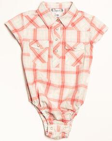 af3ce47a9 Shyanne Infant Girls Plaid Woven Short Sleeve Onesie, Ivory, hi-res