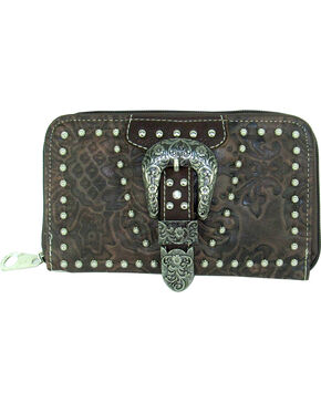 Savana Women's Tooled Zip Around Wallet, Brown, hi-res