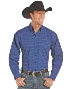 Panhandle Select Men's Blue Peached Poplin Geo Print Long Sleeve Western Shirt , Light Blue, hi-res