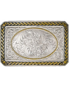 Montana Silversmiths Two Tone Wheat Trim Rectangle Buckle, Silver, hi-res