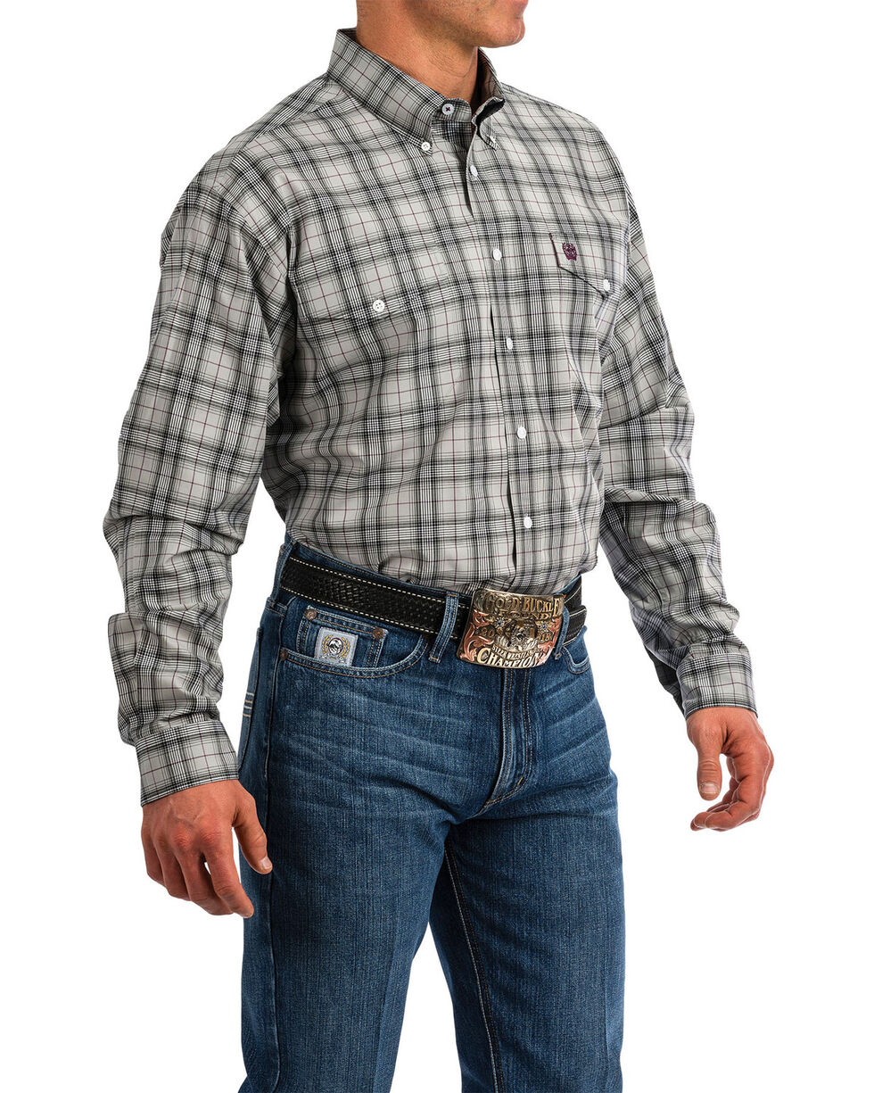 Cinch Men's Grey Plaid Button Long Sleeve Western Shirt , Grey, hi-res