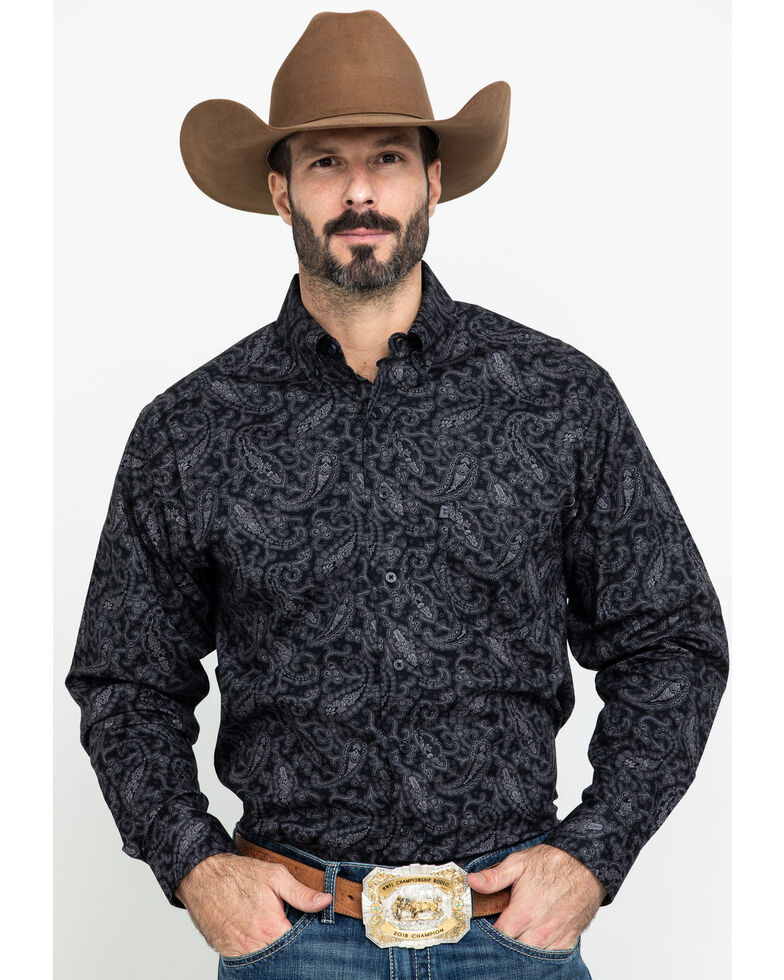 Tuf Cooper Men's Black Stretch Paisley Print Button Long Sleeve Western Shirt , Black, hi-res