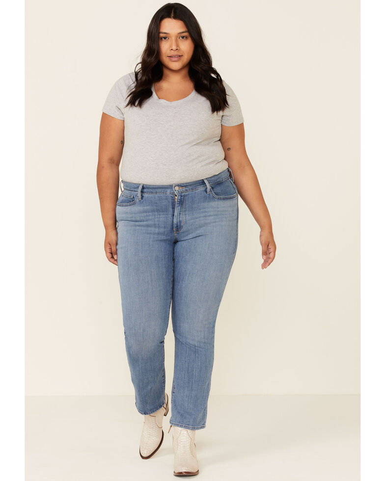 Levi's Women's Late Afternoon Medium Wash Classic Straight Jeans-  Plus , Blue, hi-res