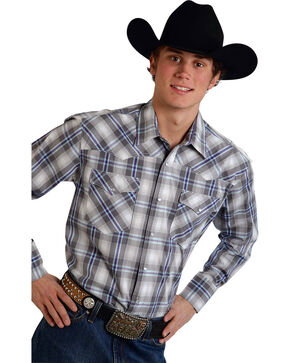 Roper Men's Amarillo Collection Purple & Gray Plaid Snap Long Sleeve Shirt, Grey, hi-res