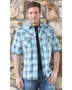 Wrangler Rock 47 Men's Teal Plaid Long Sleeve Western Shirt, Teal, hi-res