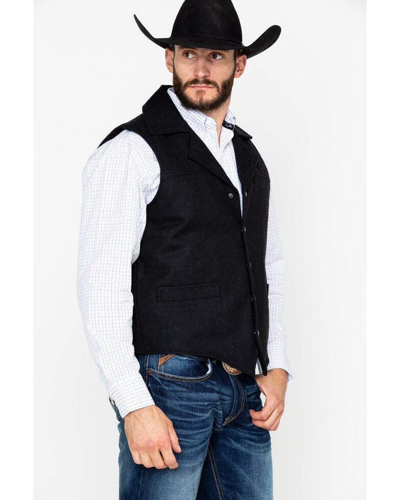 Cripple Creek Men's Wool Melton Snap Front Concealed Carry Pocket Vest  , Black, hi-res