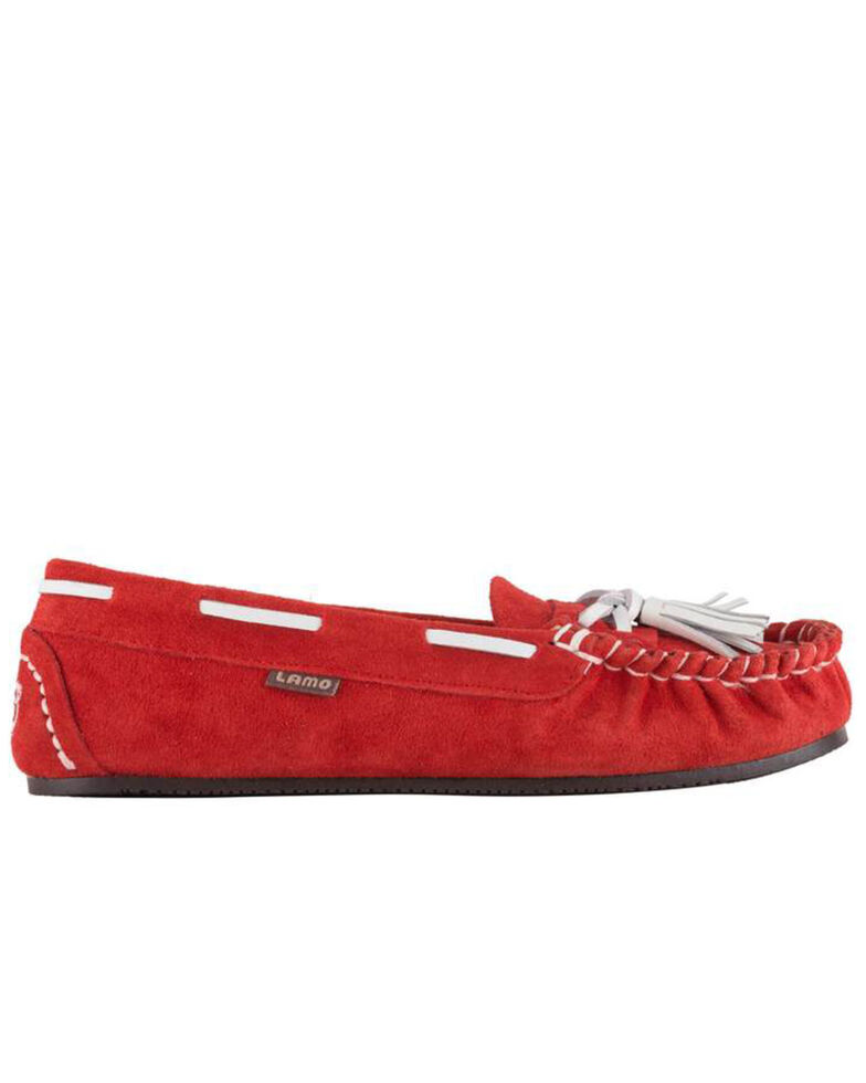 Lamo Women's Leah Faux Fur Tasseled Slippers - Moc Toe, Red, hi-res