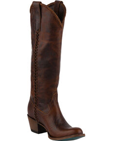 Lane Women's Plain Jane Dark Cognac Cowgirl Boots - Round Toe , Cognac, hi-res