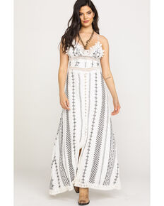 Miss Me Women's Aztec Stripe Maxi Dress, White, hi-res