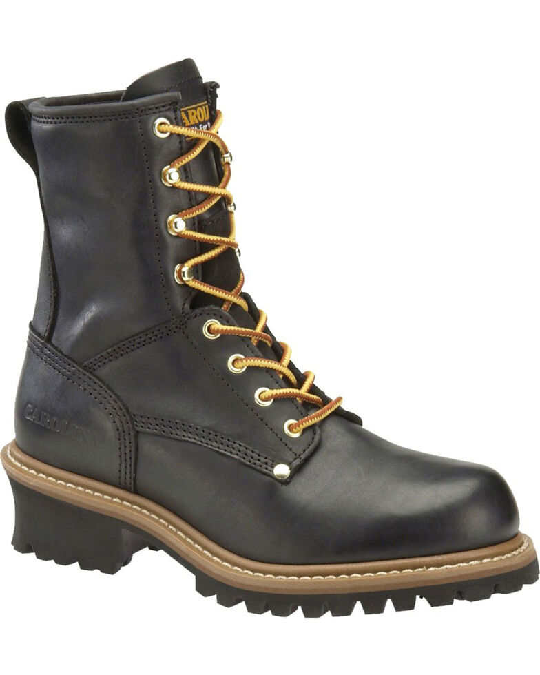 "Carolina Men's 8"" Steel Toe Logger Boots, Black, hi-res"