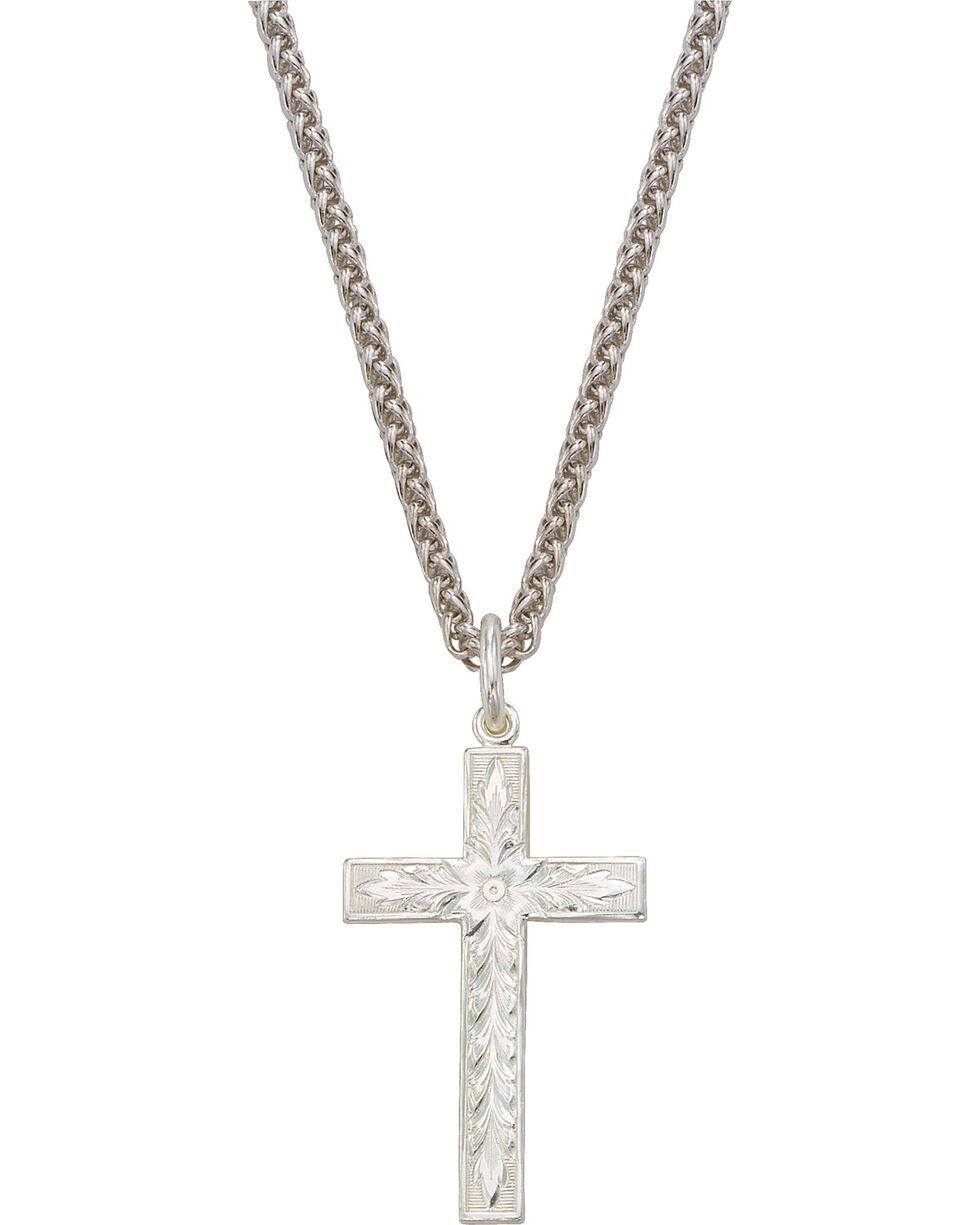Montana Silversmiths Silver Engraved Cross Necklace, Silver, hi-res