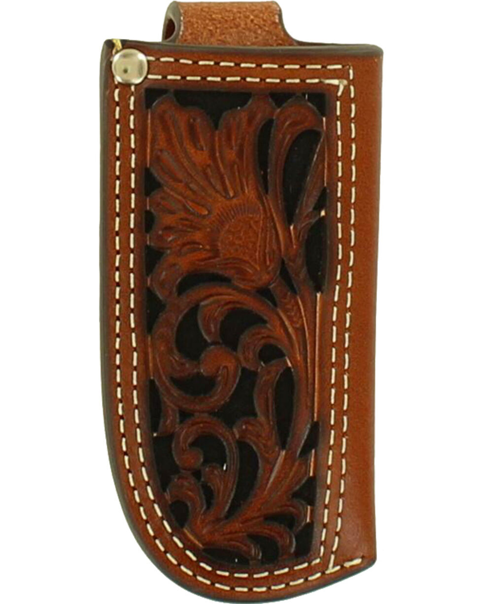 Nocona Floral Tooled Leather Knife Sheath , Black, hi-res