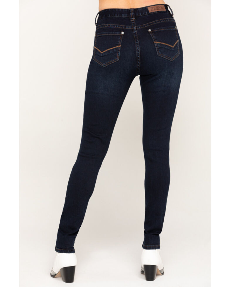 Rock & Roll Cowgirl Women's Vintage Dark High Rise Skinny Jeans, Blue, hi-res