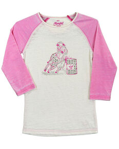 Cowgirl Hardware Toddler Girls' Pink Barrel Racer Basic Raglan, Pink, hi-res