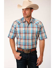 Roper Men's Amarillo Tan Oasis Plaid Long Sleeve Western Shirt , Tan, hi-res