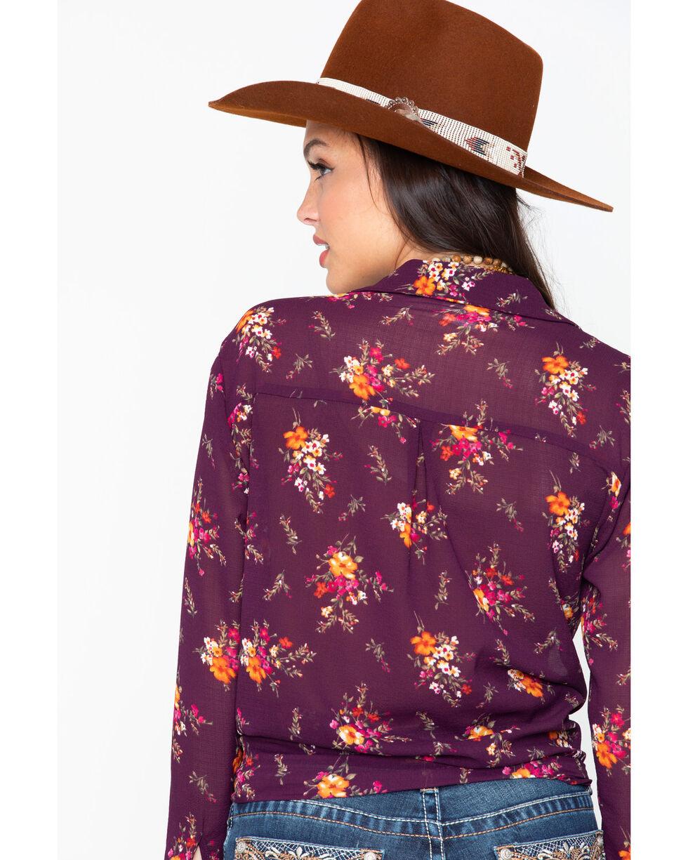 Tempted Women's All Over Floral Print Button Down Shirt , Wine, hi-res