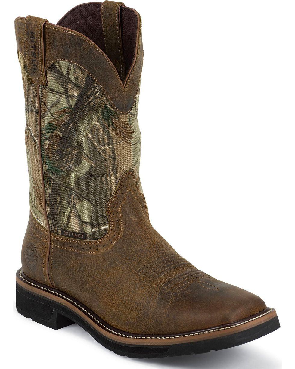 Justin Men's Waterproof Composite Toe Camo Work Boots, Tan, hi-res