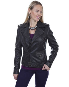 Leatherwear by Scully Women's Black Lamb Studded Motorcycle Leather Jacket, Black, hi-res