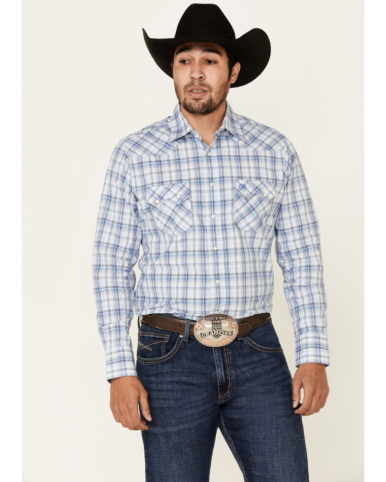 Wrangler Retro Men's Blue Small Plaid Long Sleeve Snap Western Shirt - Tall, Blue, hi-res
