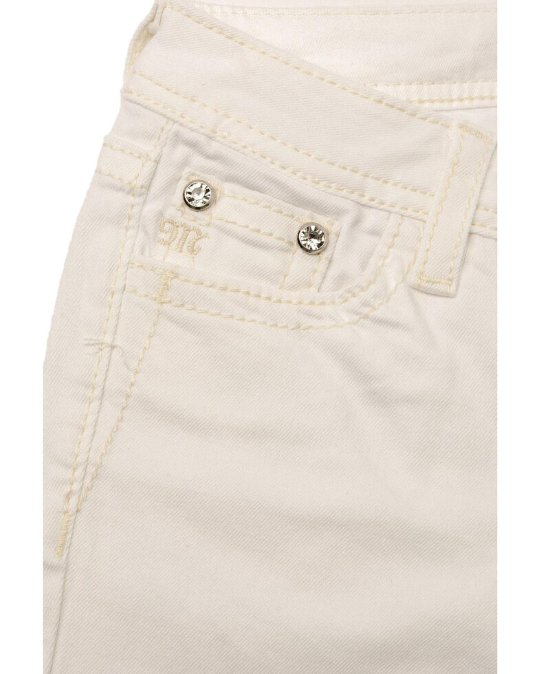 Miss Me Girls' White Cross Skinny Jeans, White, hi-res