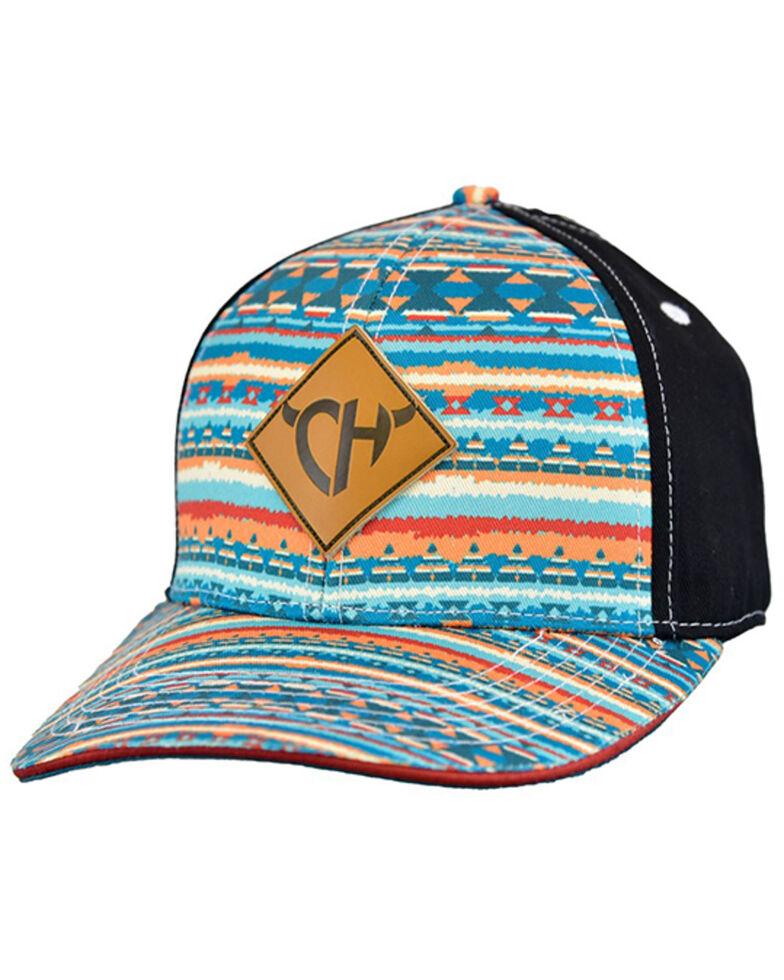 Cowgirl Hardware Women's Painted Desert Aztec Print Logo Patch Ball Cap, Teal, hi-res