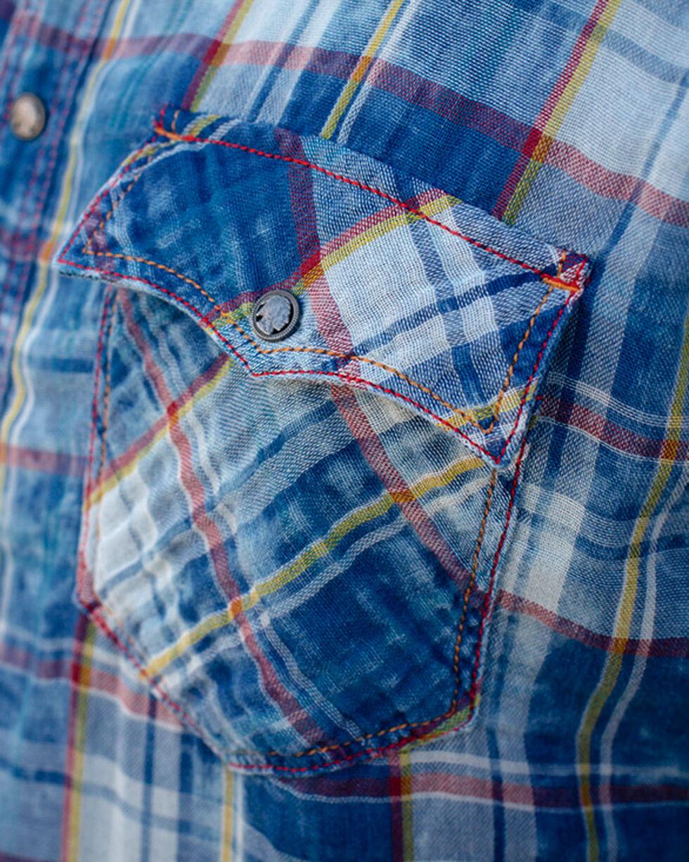 Ryan Michael Men's Indigo Cloud Wash Plaid Shirt , Indigo, hi-res