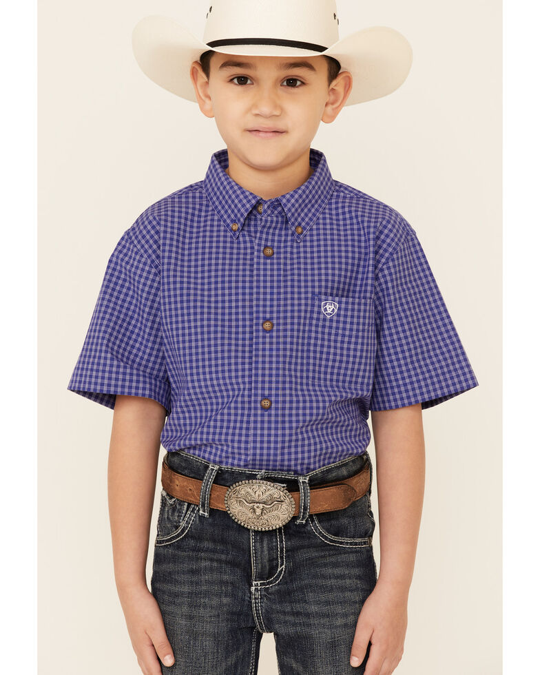 Ariat Boys' Pro Series Patton Plaid Short Sleeve Button-Down Western Shirt , Purple, hi-res