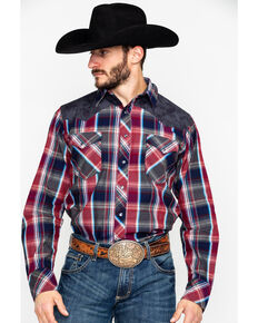 3d0d3c373f Roper Men's Plaid Paisley Flower Yolk Long Sleeve Western Shirt