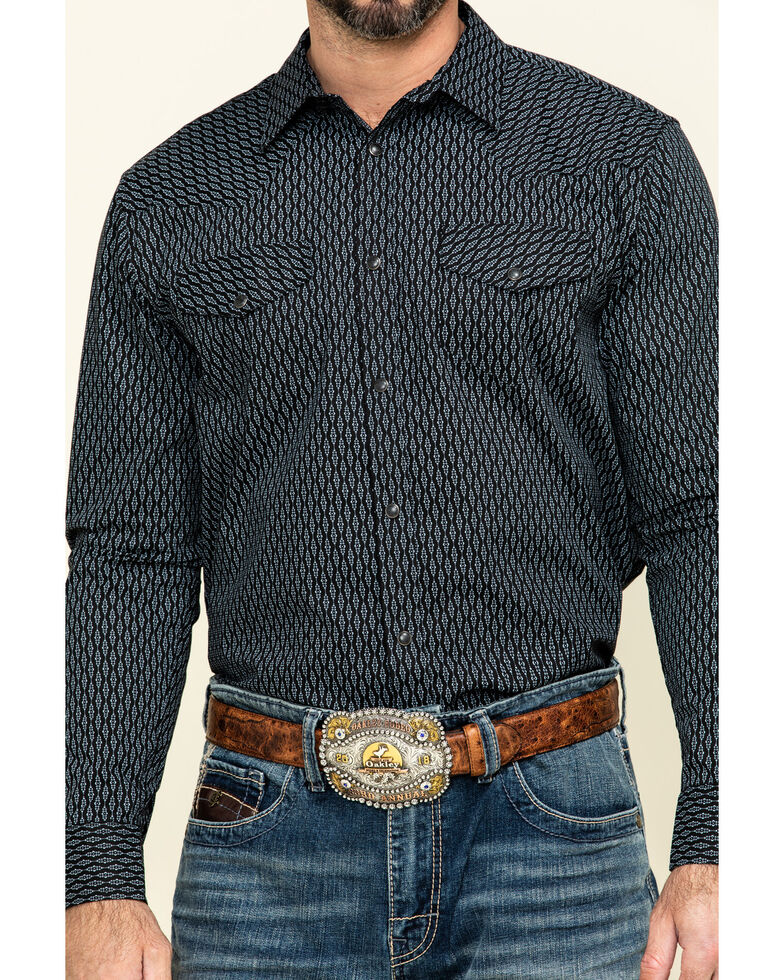 Gibson Men's Wild Oats Geo Print Long Sleeve Western Shirt , Black, hi-res
