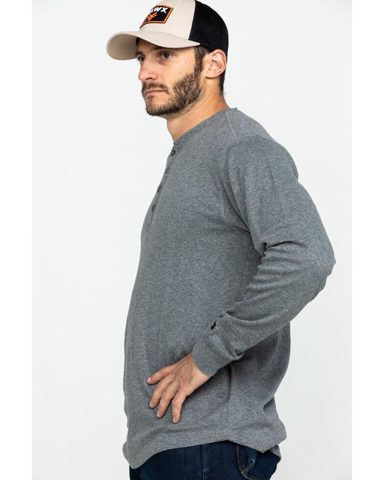 Hawx Men's Heather Grey Thermal Henley Long Sleeve Work Shirt - Tall , Heather Grey, hi-res
