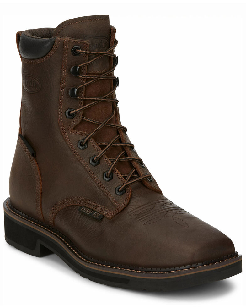 Justin Men's Driller Waterproof Work Boots - Composite Toe, Brown, hi-res