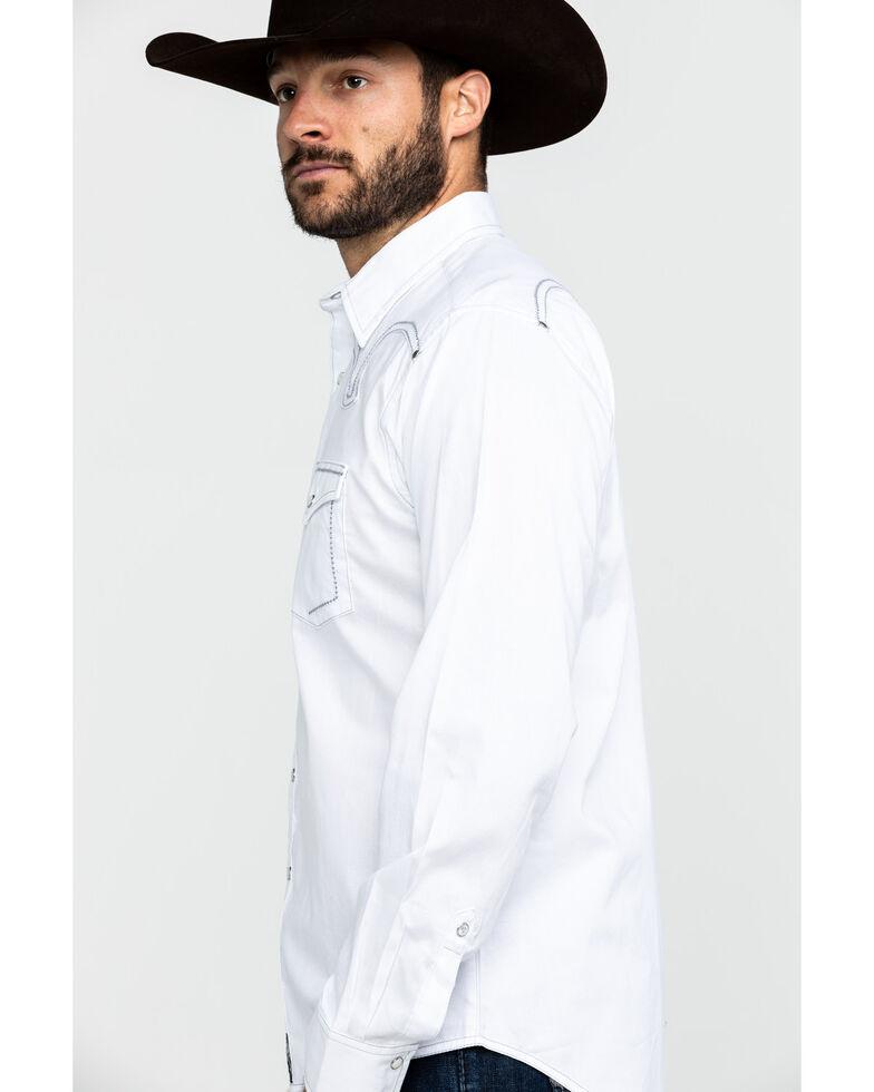 Rock 47 By Wrangler Men's White Solid Long Sleeve Western Shirt , White, hi-res