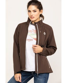 HOOey Women's Brown Solid Softshell Jacket, Brown, hi-res