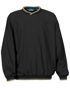 Tri-Mountain Men's Black & Khaki XL Atlantic Trimmed Microfiber Wind Work Sweatshirt - Tall, Black, hi-res