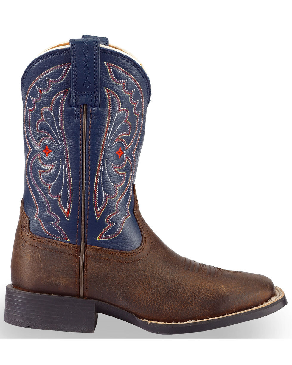 Ariat Boys' Royal Blue Quickdraw Cowboy Boots - Square Toe, Brown, hi-res