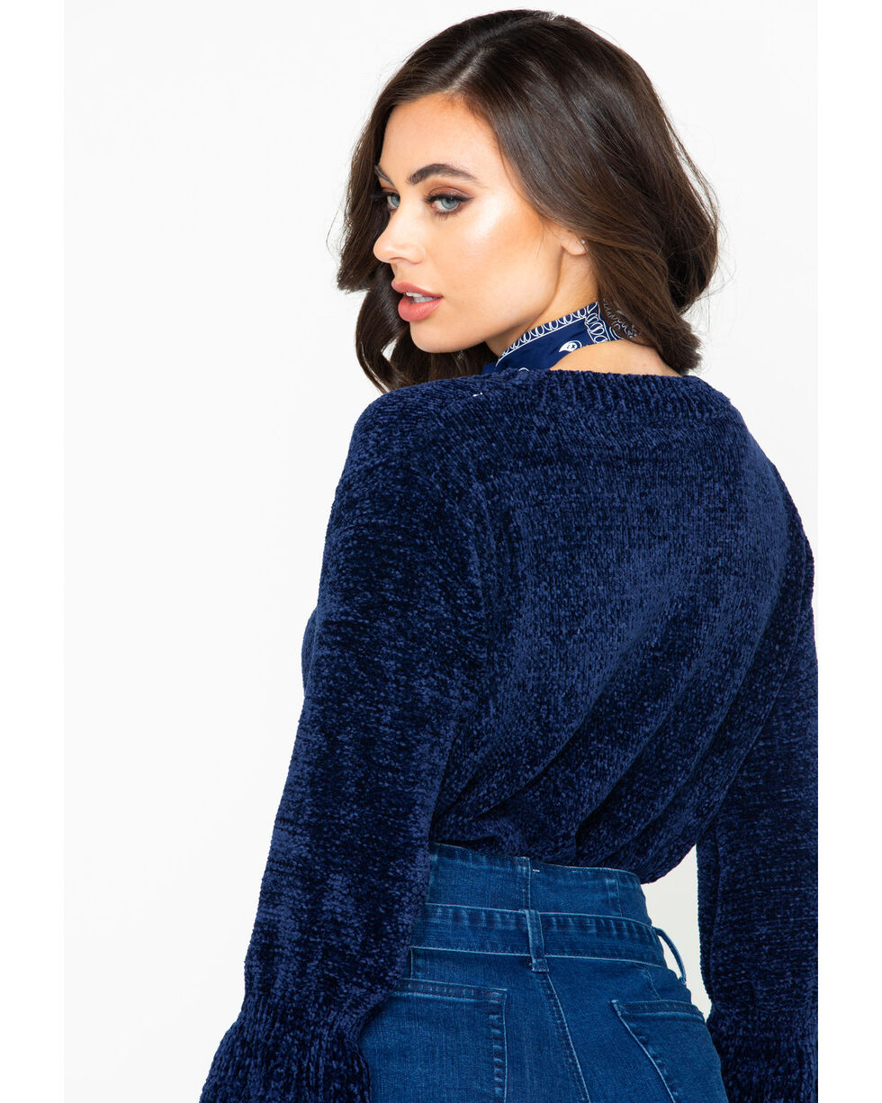 Elan Women's Navy Chenille Bell Sleeve Sweater, Navy, hi-res