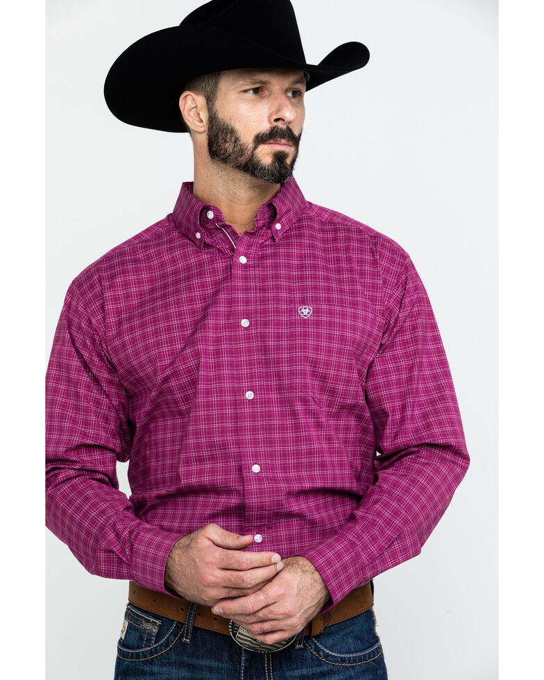 Ariat Men's Atticus Stretch Plaid Long Sleeve Western Shirt - Big , Burgundy, hi-res