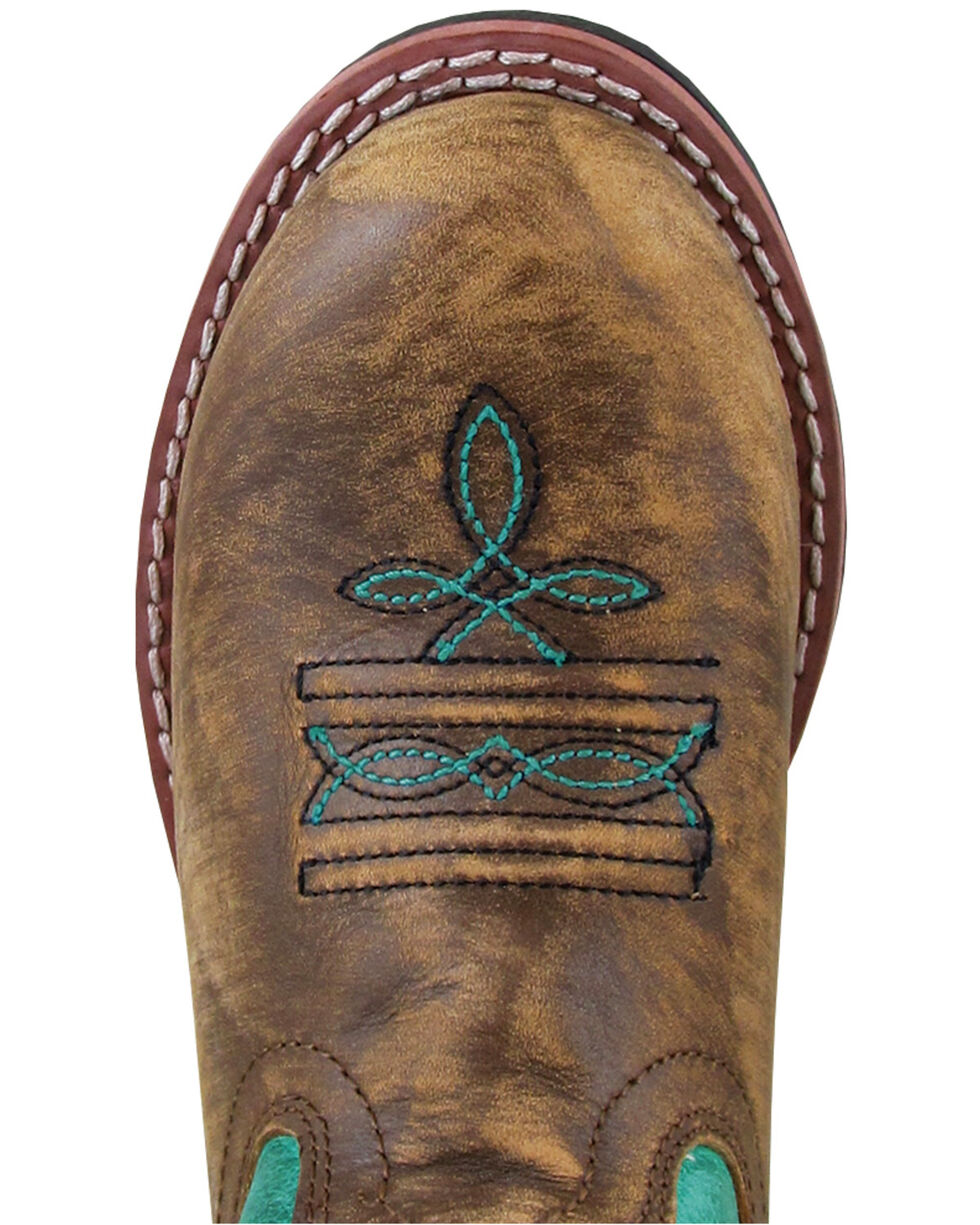 Smoky Mountain Kids' Buffalo Western Boots - Round Toe, Brown/blue, hi-res
