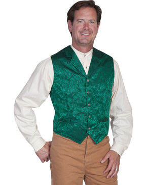 Scully Men's Silk Vest, Hunter Green, hi-res