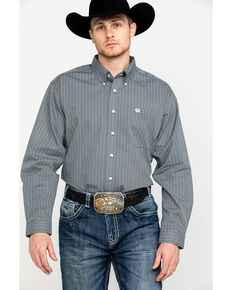 Cinch Men's Tencel Diamond Geo Print Long Sleeve Western Shirt , Grey, hi-res