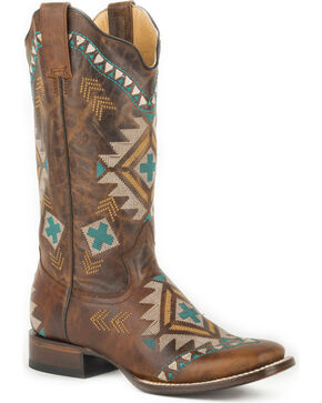 Roper Women's Tan Mai Western Boots - Square Toe , Tan, hi-res