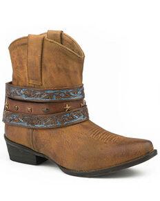 Roper Women's Tumbled Tan Leather Fashion Booties - Snip Toe, Tan, hi-res