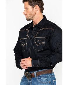 Rock 47 by Wrangler Men's Solid Embroidered Long Sleeve Western Shirt, Black, hi-res