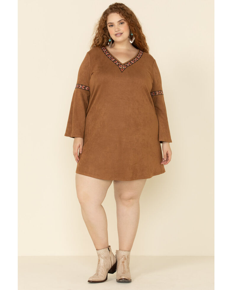 Flying Tomato Women's Camel Faux Suede Bell Sleeve Dress - Plus , Camel, hi-res