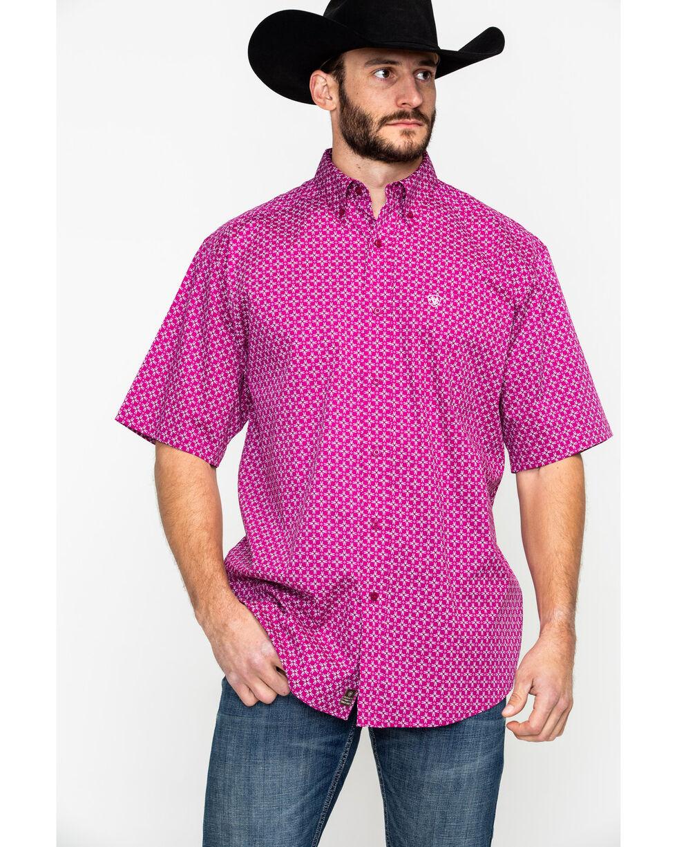 Ariat Men's Fernlund Stitch Geo Short Sleeve Western Shirt , Red, hi-res