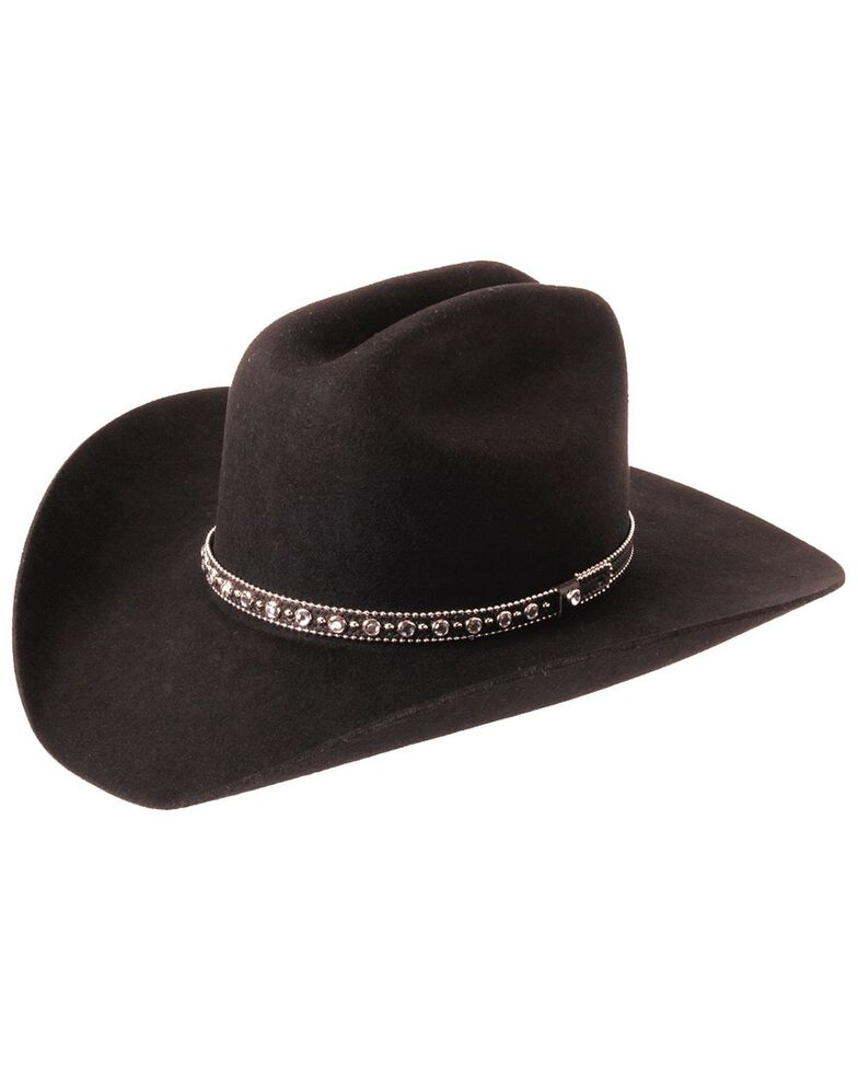 Silverado Fancy Cattleman Wool Felt Cowboy Hat, Black, hi-res