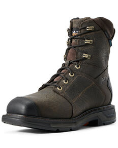 Ariat Men's Workhog Side Zip Waterproof Work Boots - Carbon toe, Brown, hi-res