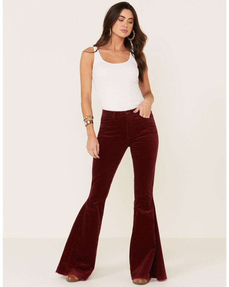 Saints & Hearts Women's Corduroy Flare Jeans, Wine, hi-res